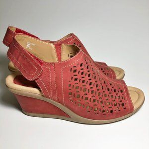 Earth Red Leather Laser-Cut Wedges Sandals 8